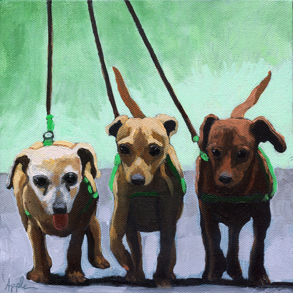 """Family of Chihuahuas - Family Ties"" original fine art by Linda Apple"