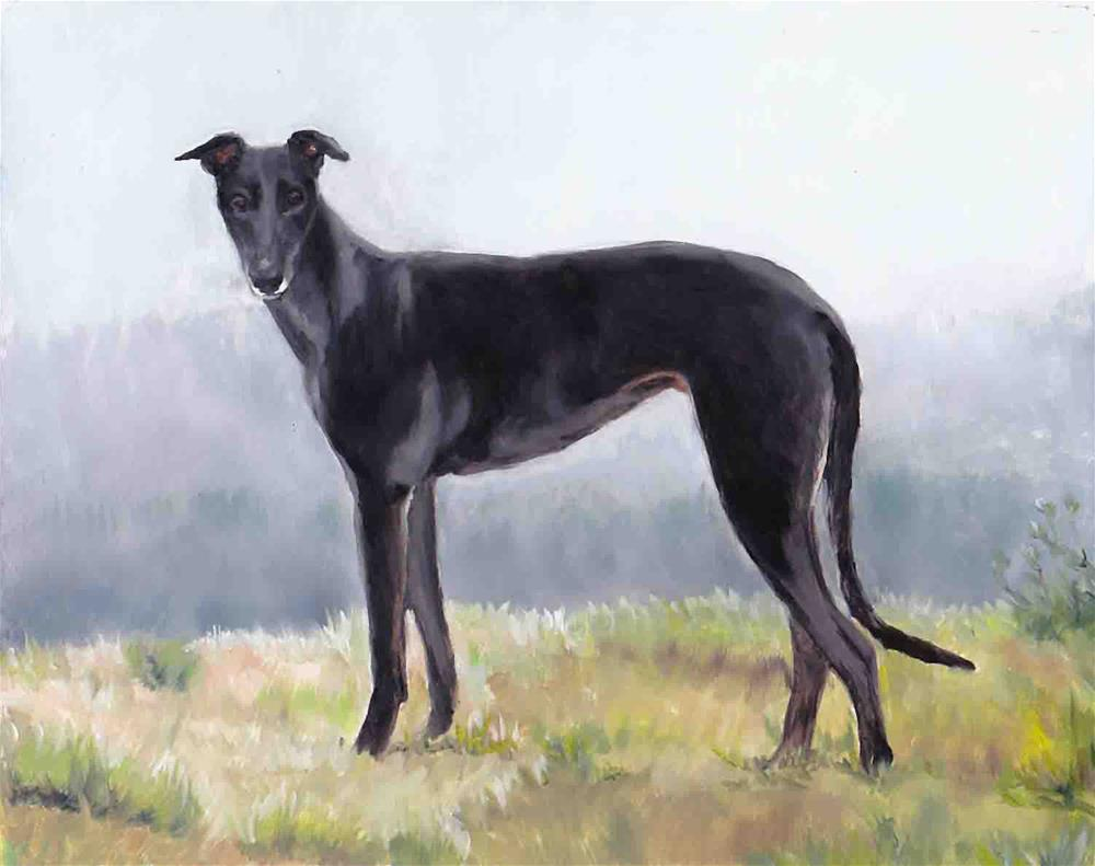 """Black Greyhound Standing"" original fine art by Charlotte Yealey"
