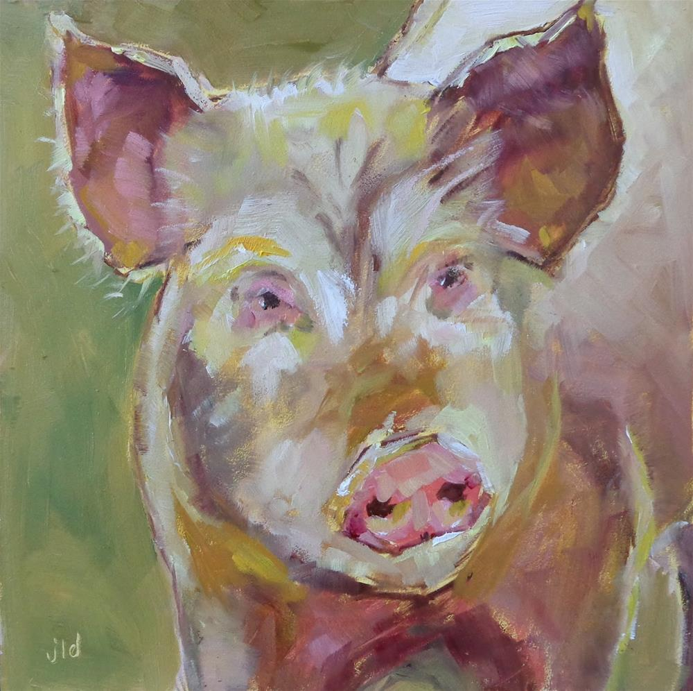 """OINK TO YOU"" original fine art by Jean Delaney"