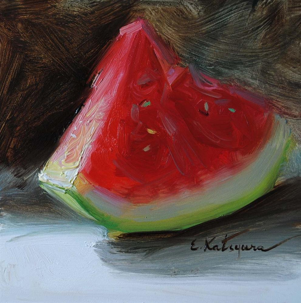 """A Slice of Watermelon"" original fine art by Elena Katsyura"