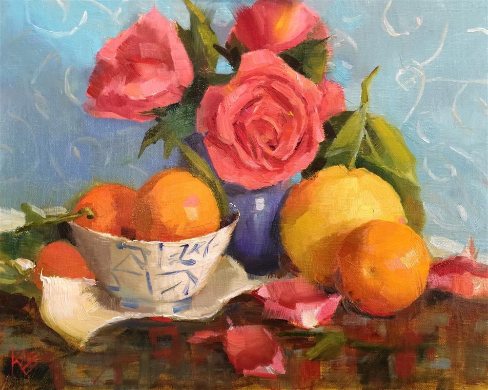"""Roses and Oranges"" original fine art by Krista Eaton"