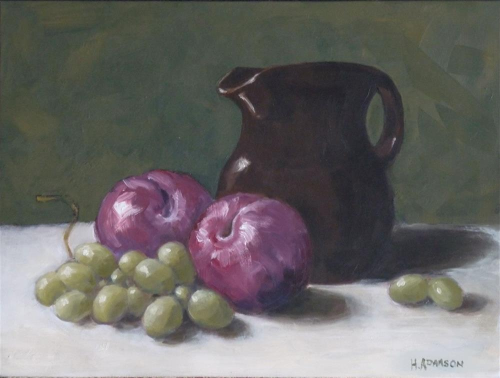 """Brown Jug with Plums"" original fine art by Helene Adamson"