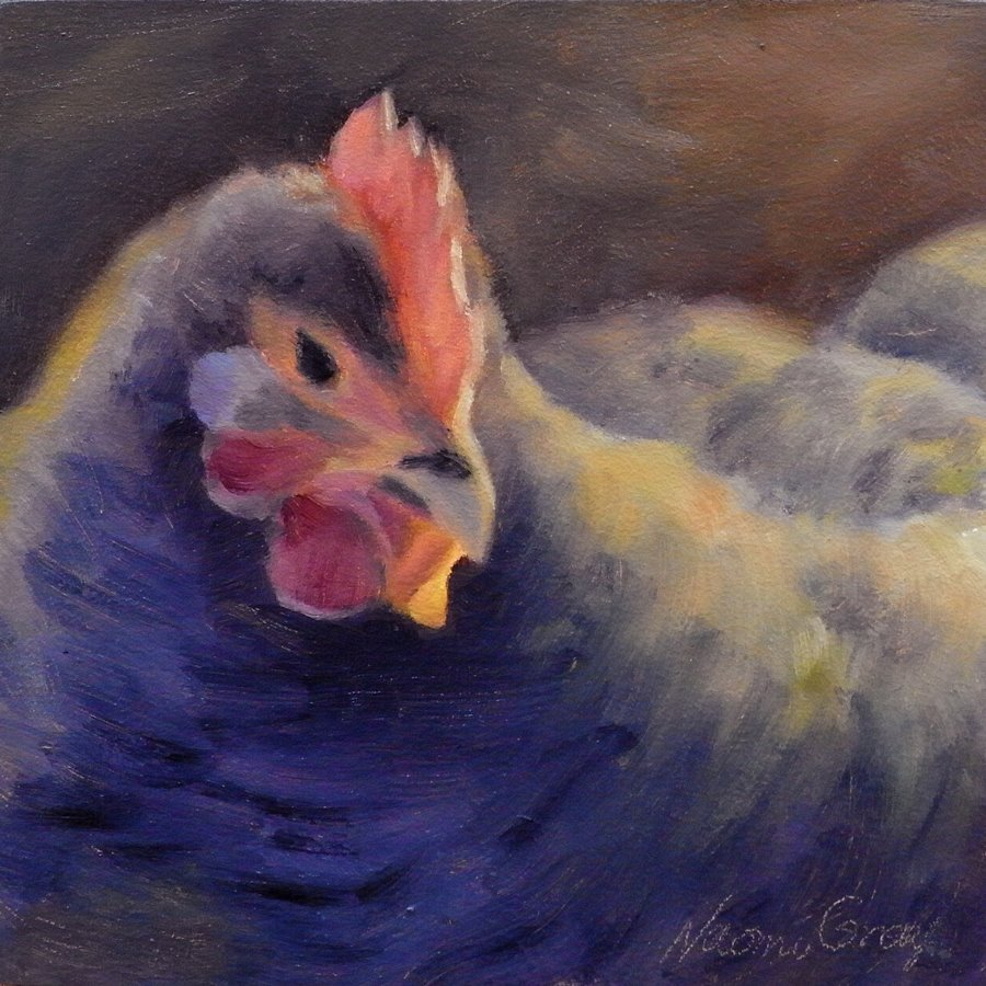 """Puffy the Hen"" original fine art by Naomi Gray"
