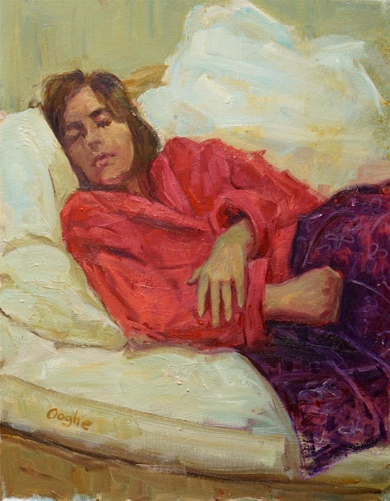 """Girl in Pink Robe"" original fine art by Angela Ooghe"