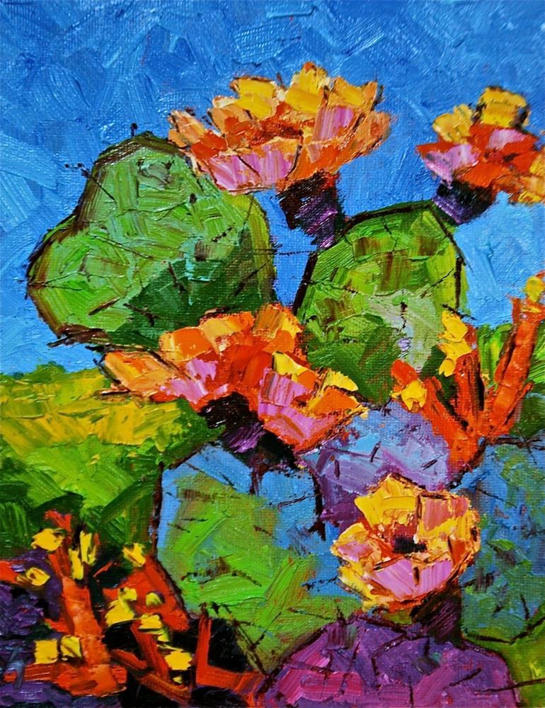 """Abstract Cactus Blossoms"" original fine art by Liz Zornes"