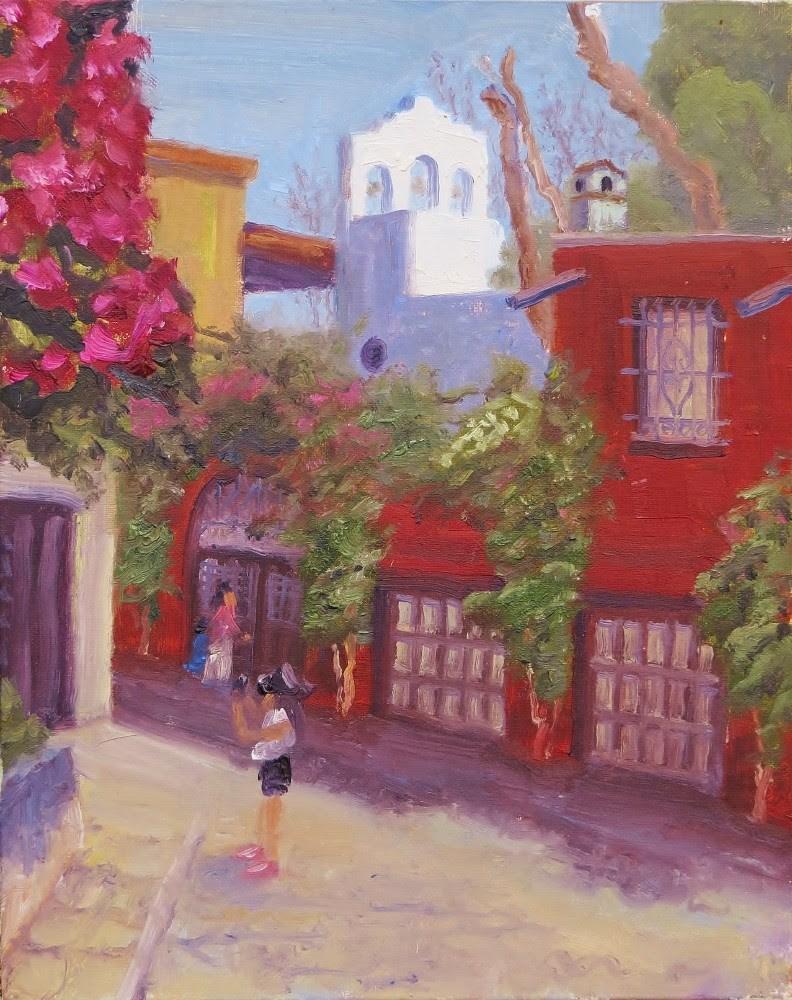 """Looking Up Diez de Sollano from Parque Juarez"" original fine art by Richard Kiehn"