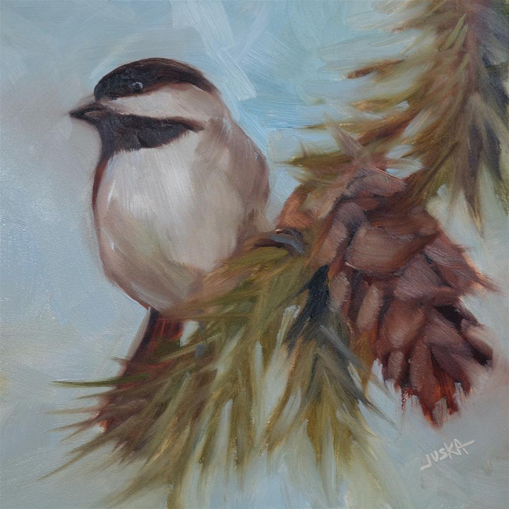"""Chickadee"" original fine art by Elaine Juska Joseph"