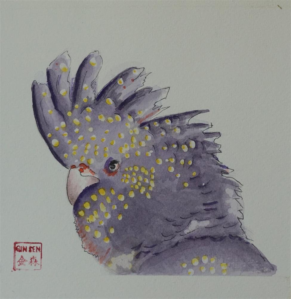 """Black Cockatoo"" original fine art by Gin Sen"