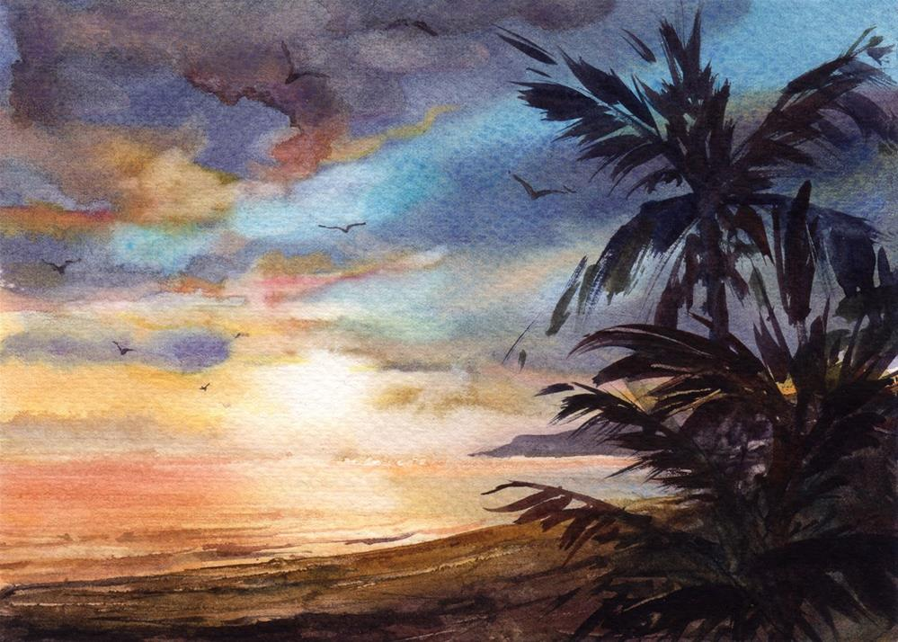 """Evening in Paradise"" original fine art by Linda Henry"