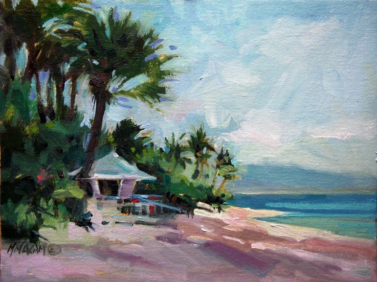 """Beach Hut - beach lifeguard station, Oahu"" original fine art by Mary Maxam"