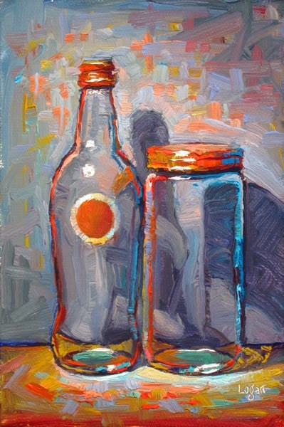 """Izze Bottle and Tang Jar"" original fine art by Raymond Logan"