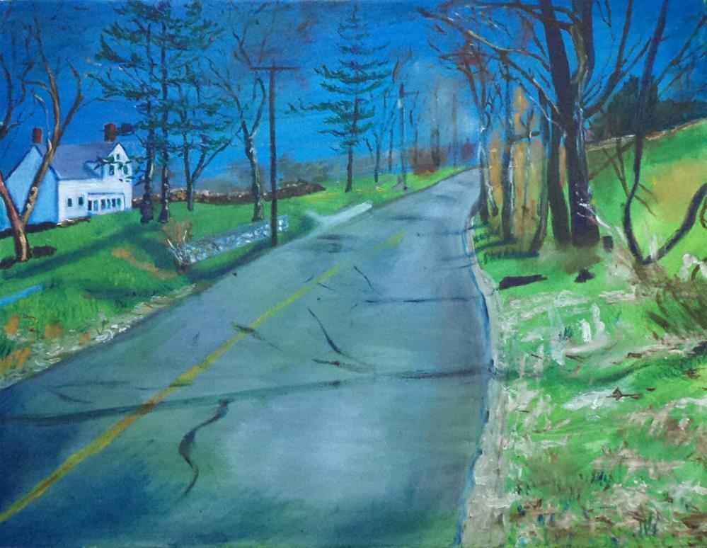 """white house on the intense hill"" original fine art by tara stephanos"