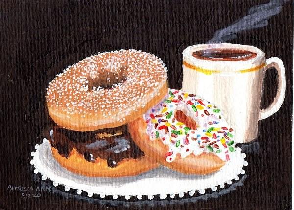 """""""Coffee & Donuts"""" original fine art by Patricia Ann Rizzo"""
