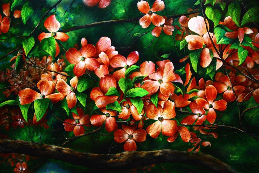 """Pink American Dogwood"" original fine art by Aaron Grabiak"