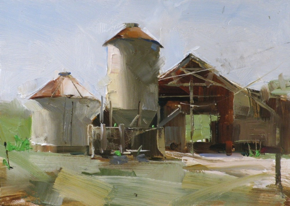 """On a Texas Farm"" original fine art by Qiang Huang"