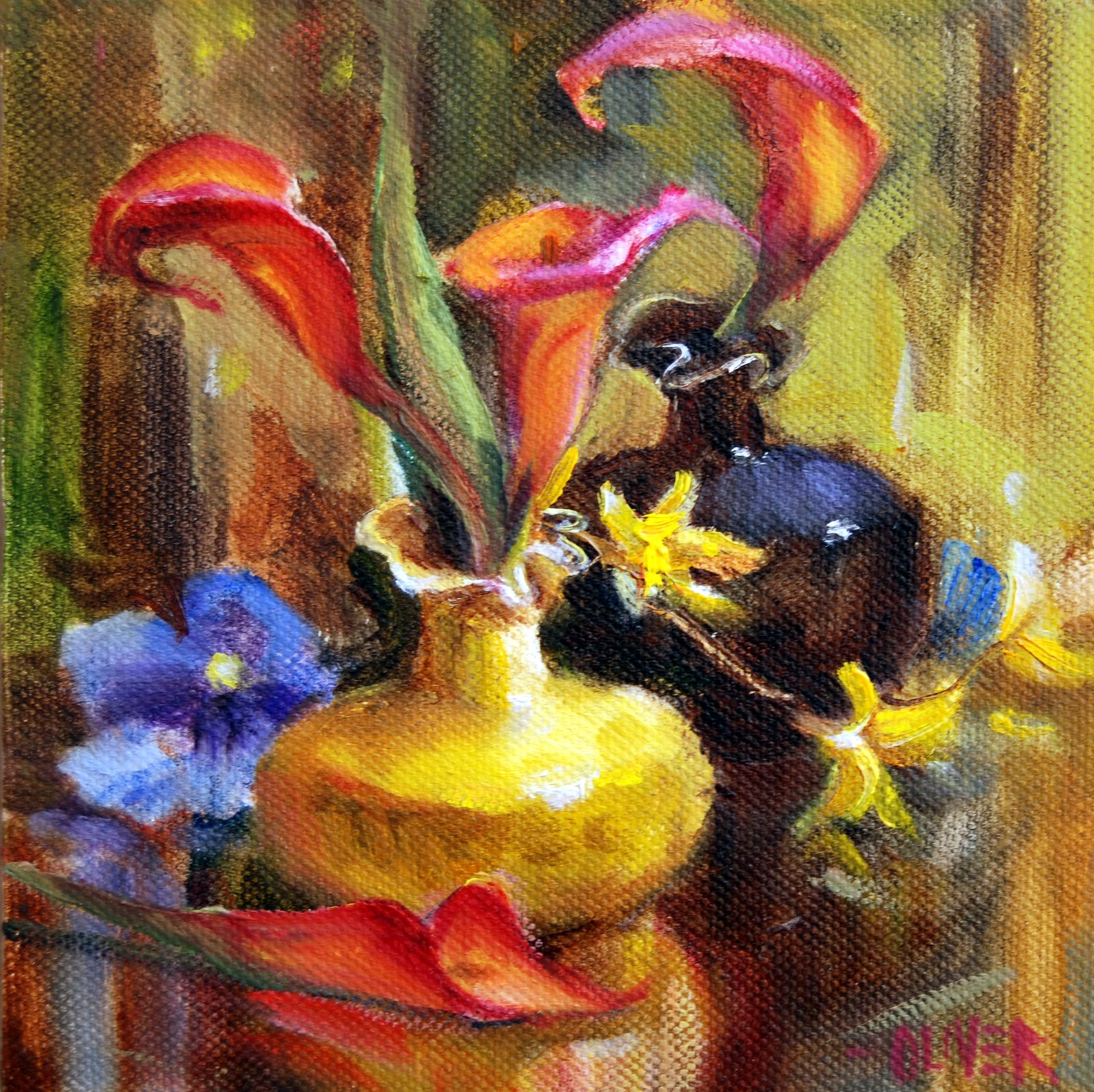 """Red Calla Lilies"" original fine art by Julie Ford Oliver"