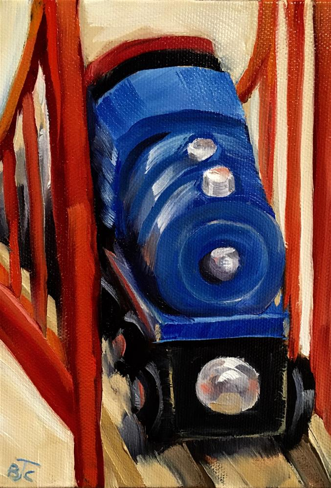 """Toy Train"" original fine art by Bobbie Cook"