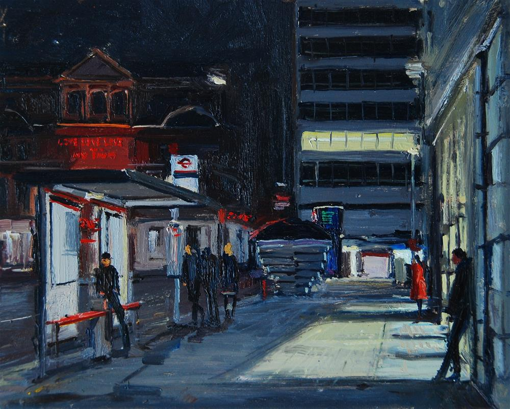 """Sloane Square, Towards the Station at night"" original fine art by Adebanji Alade"