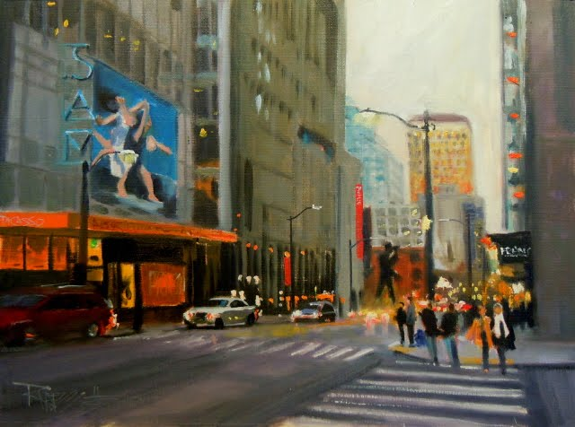 """The Picasso Exhibit Seattle city scenes, oil cityscape painting"" original fine art by Robin Weiss"