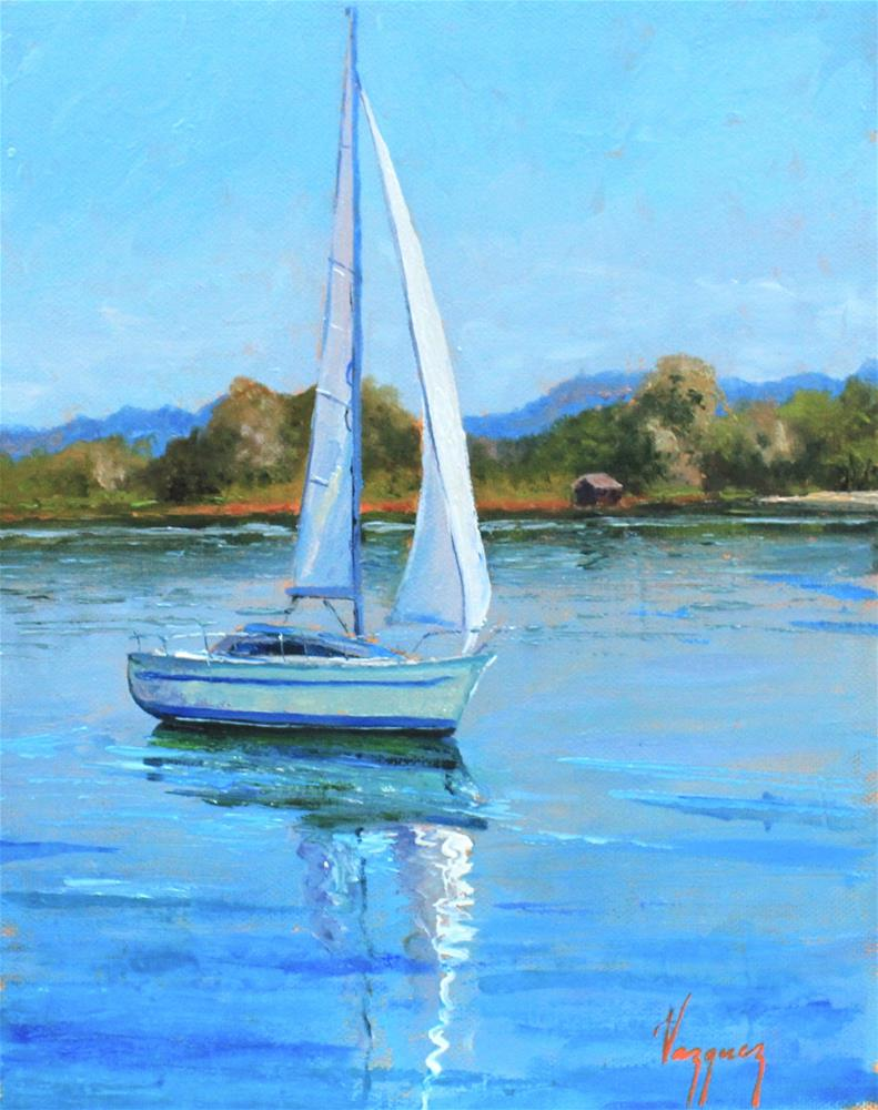 """Sailing on calm water"" original fine art by Marco Vazquez"