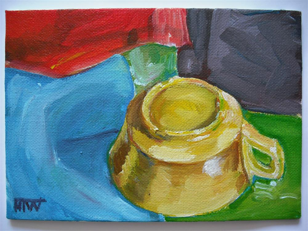 """Yellow Cup - Upside Down"" original fine art by Heather Whiting"
