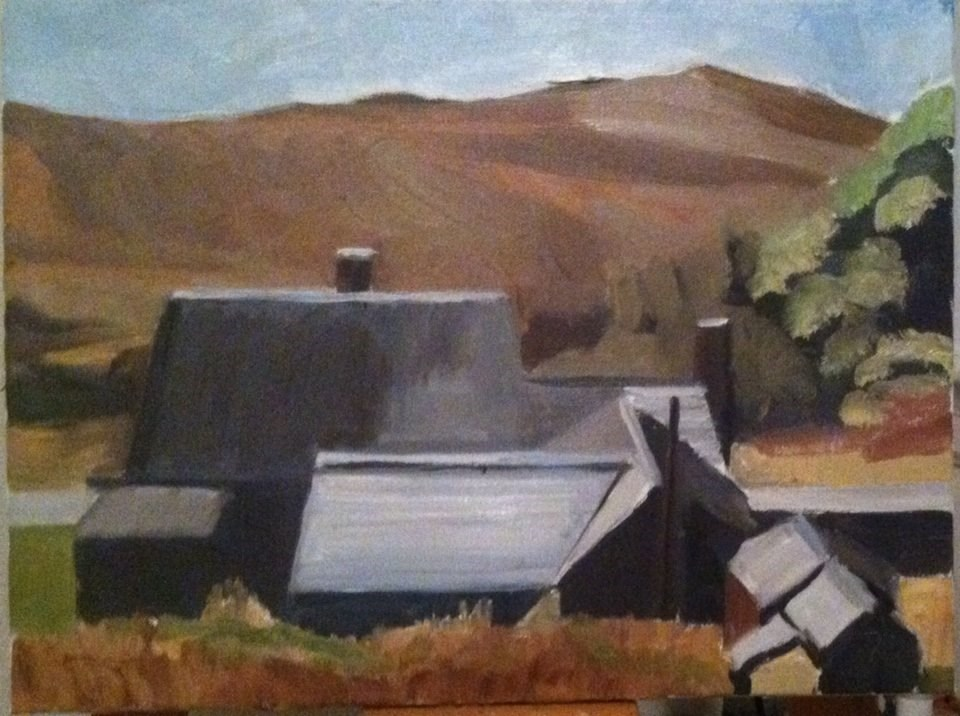 """contrasting barns"" original fine art by paul smith"