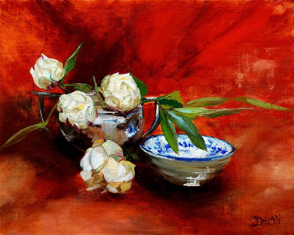 """Tea Bowl Silver And Peonies"" original fine art by Dalan Wells"