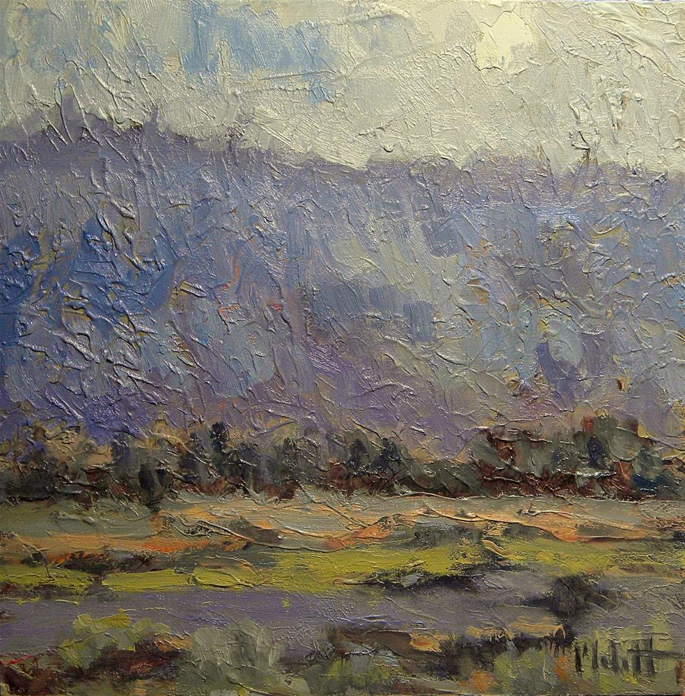 """Brief Rain Southwest Landscape highly textured oil painting"" original fine art by Heidi Malott"