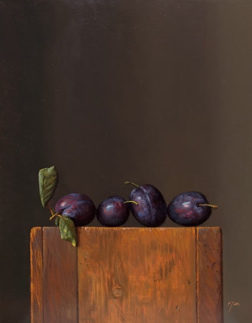 """Four Italian Plums   (+ Sharing Some Art I Like)"" original fine art by Abbey Ryan"