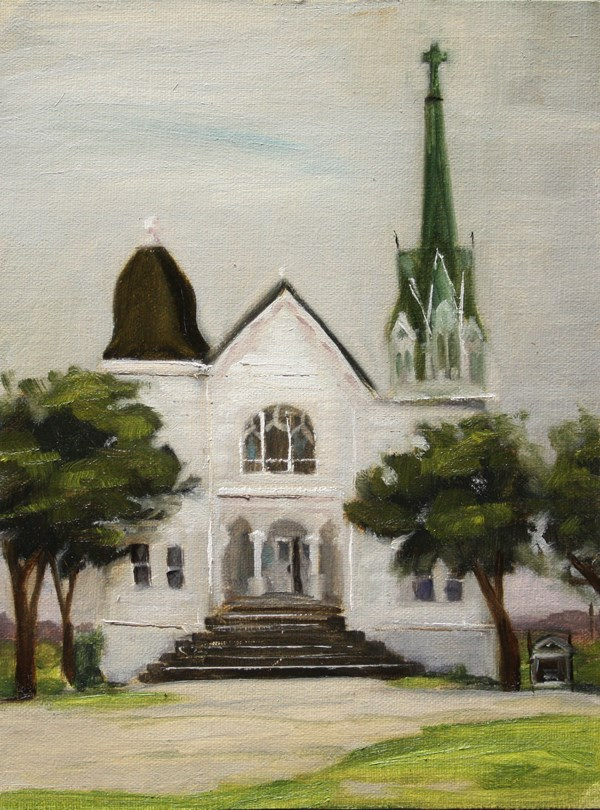 """New Sweden Lutheran Church"" original fine art by Jane Frederick"