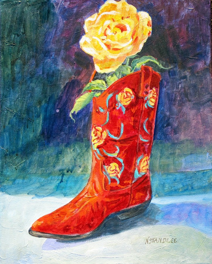 """Yellow Rose, Red Boot 11095"" original fine art by Nancy Standlee"