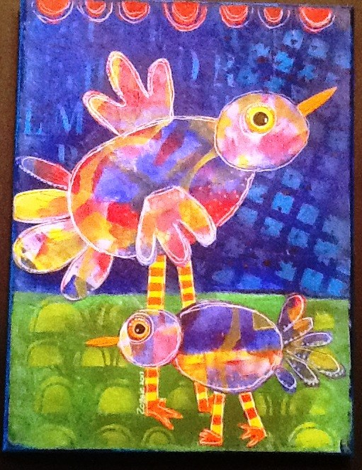 """TWO BIRDS"" original fine art by Cindy Zoglmann"