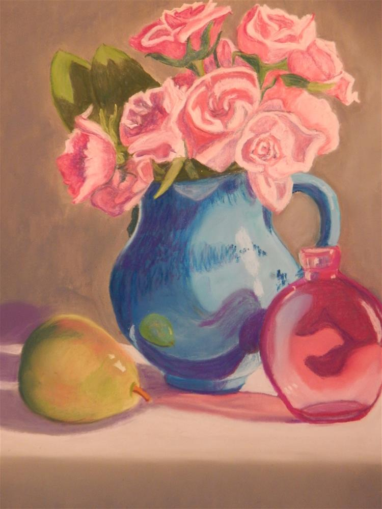 """Pink Roses in Blue Pitcher"" original fine art by Elaine Shortall"