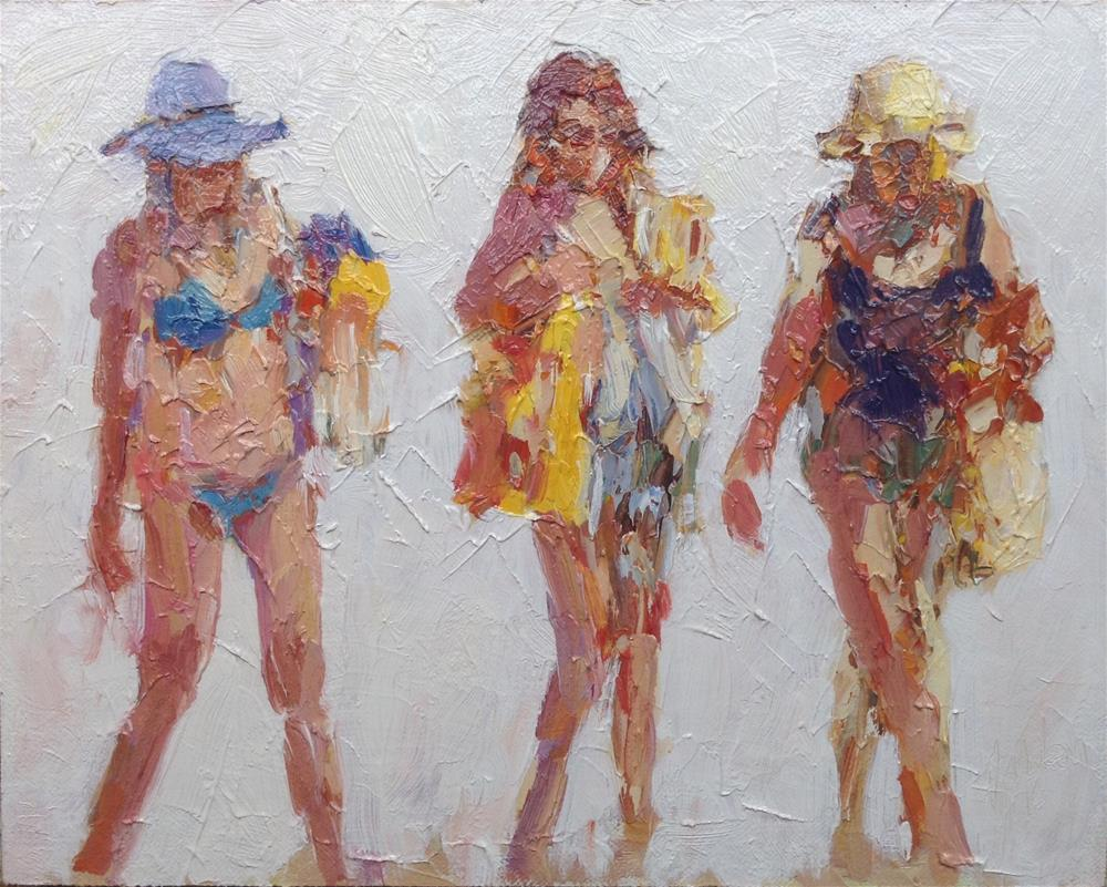 """Beach figures # 14"" original fine art by Joseph Mahon"