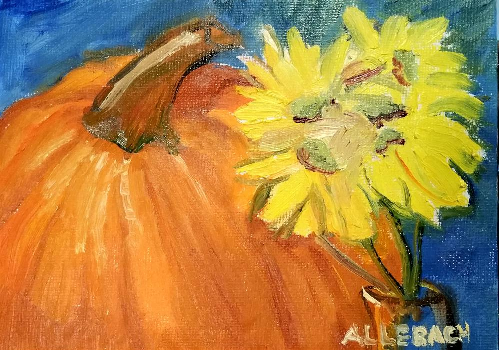 """PUMPKIN AND DAISIES"" original fine art by Jo Allebach"