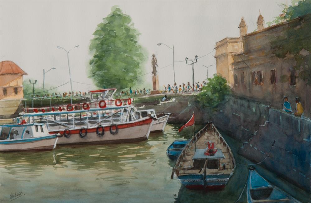 """Boats at Gateway"" original fine art by Tesh Parekh"