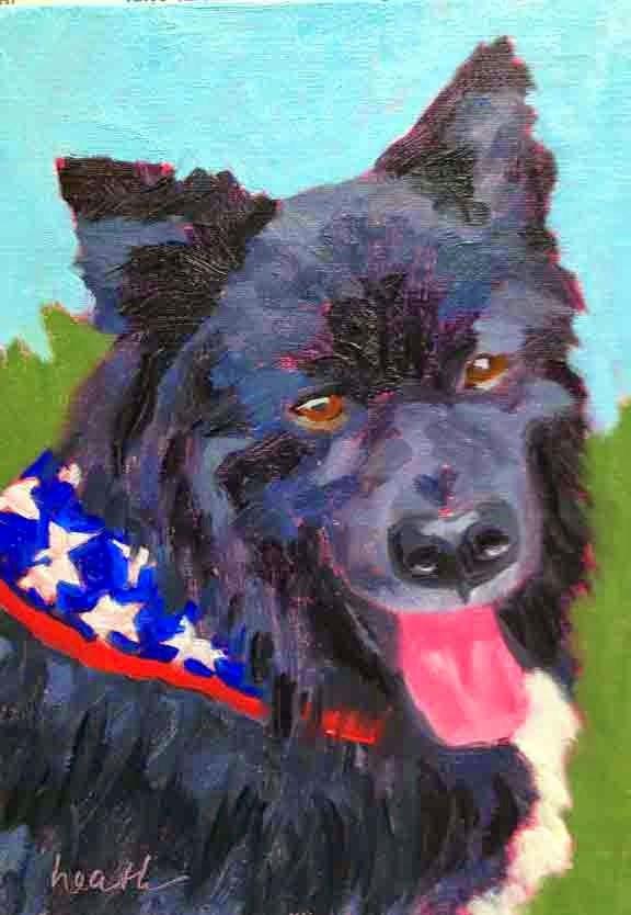 """Kodiak Pet Portrait"" original fine art by Bobbi Heath"
