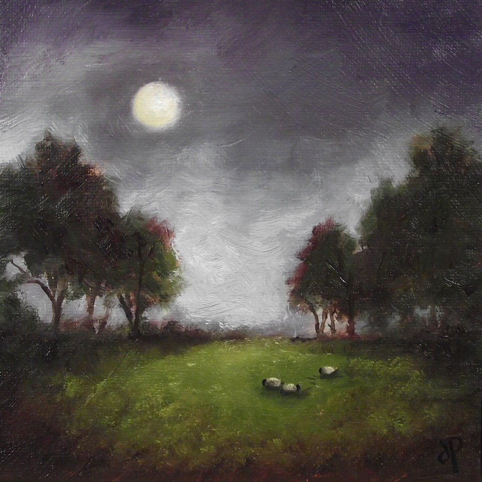 """Moon Sheep"" original fine art by Jane Palmer"