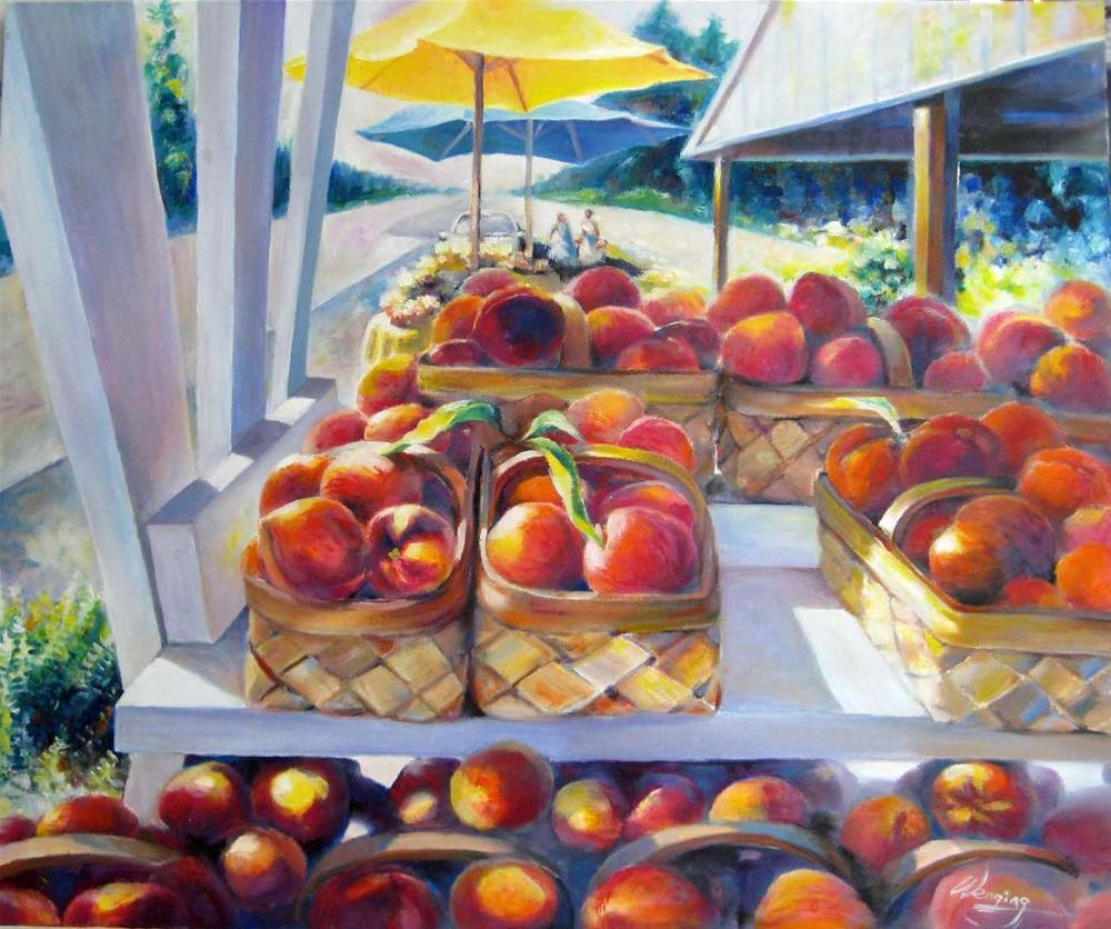 """Peach season"" original fine art by Wenqing Xu"