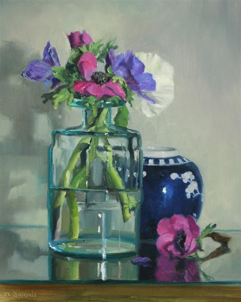 """Anemonies in Glass Jar"" original fine art by Liz Balkwill"