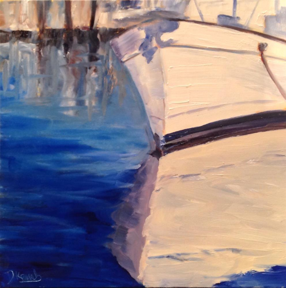 """White Boat in Harbor"" original fine art by Debra Kennedy"