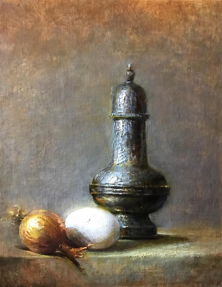 """Silver salt shaker "" original fine art by Regina Lyubovnaya"