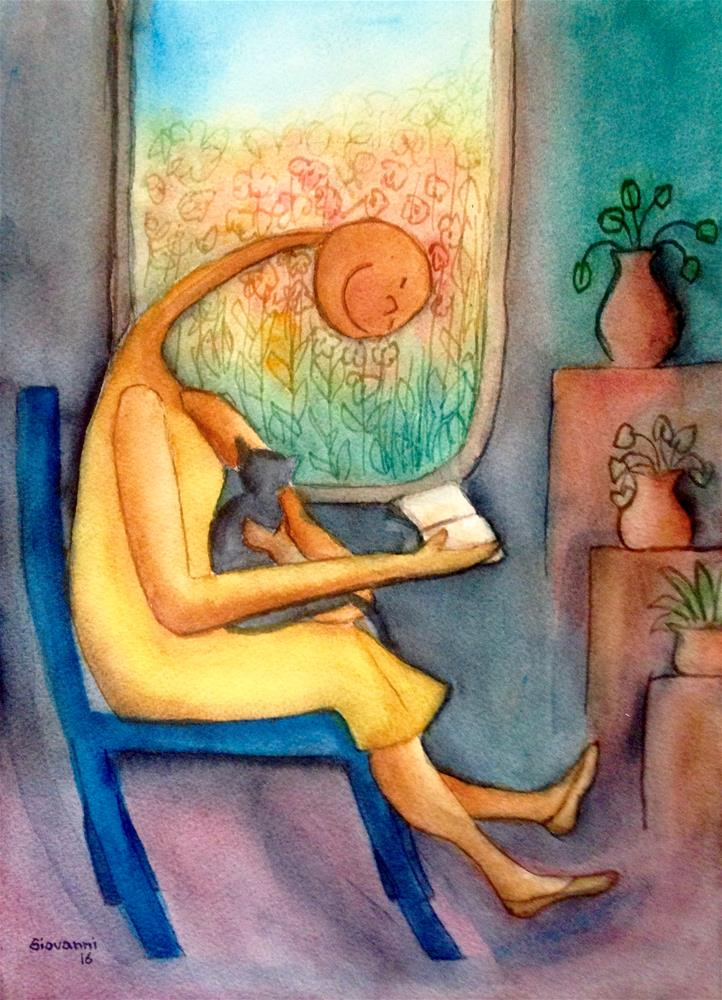 """Woman with cat reading by the window"" original fine art by Giovanni Antunez"