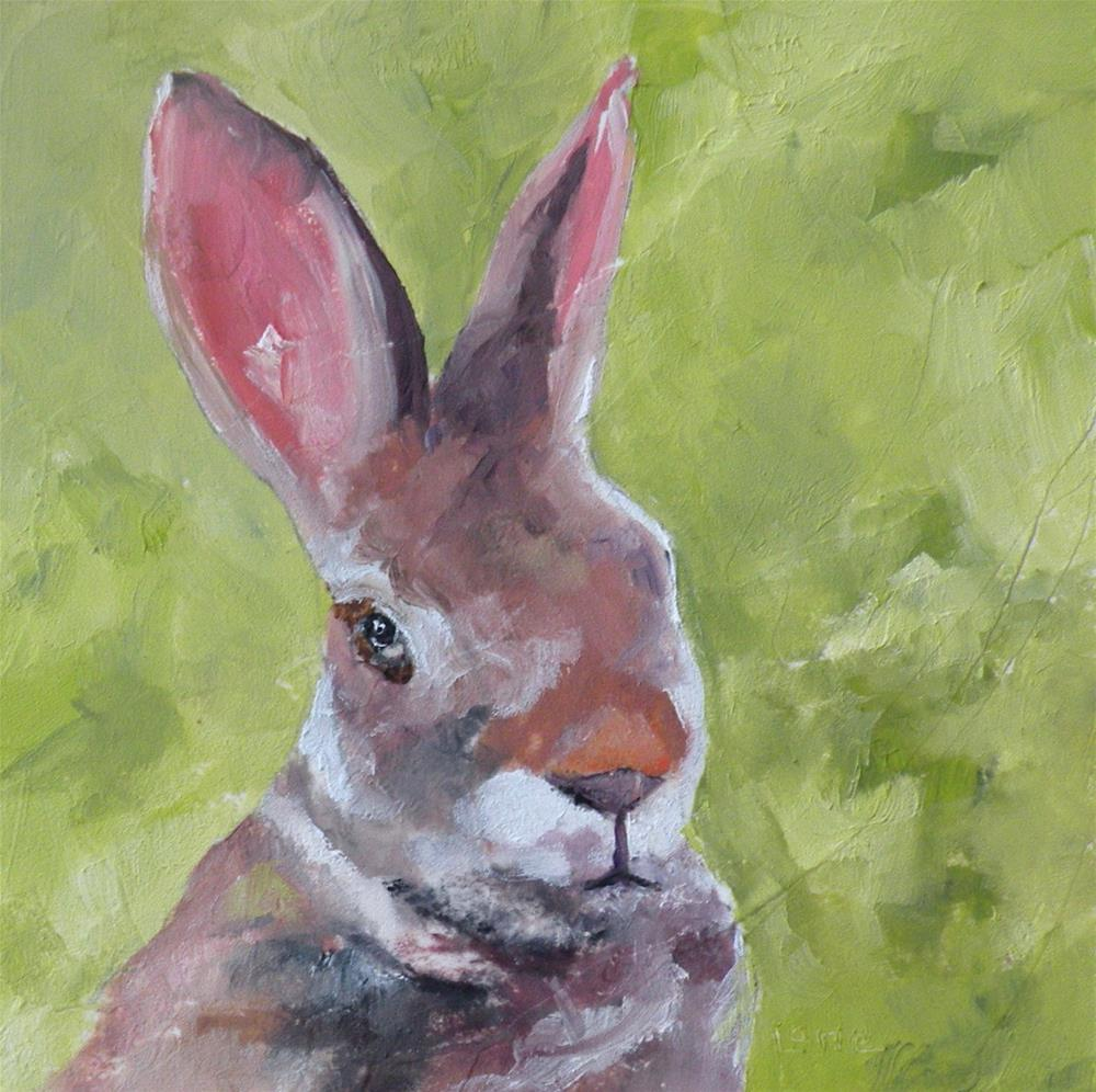 """HARVEY B - A BUNNY.  AN ORIGINAL 4X4 MINI FOR MY ETSY SHOP © SAUNDRA LANE GALLOWAY"" original fine art by Saundra Lane Galloway"
