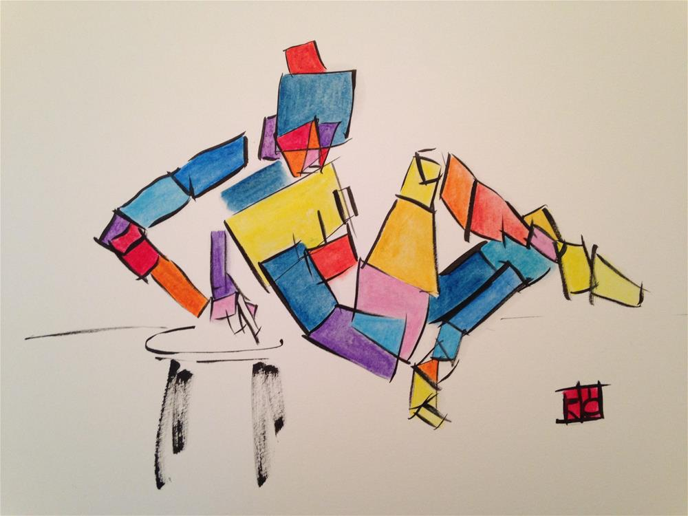 """Box woman Colorful"" original fine art by Arron McGuire"