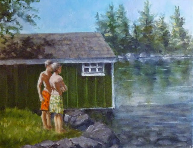 """Cottage Friends"" original fine art by Helene Adamson"