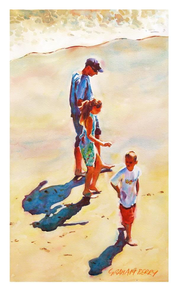 """Walking on the wet sand"" original fine art by Graham Berry"