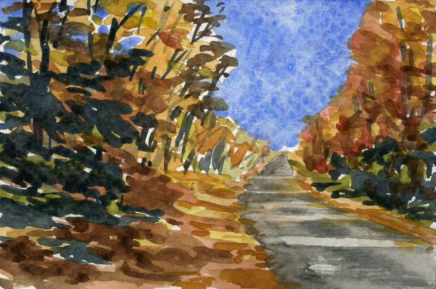 """Fall Road"" original fine art by Eileen Hennemann"