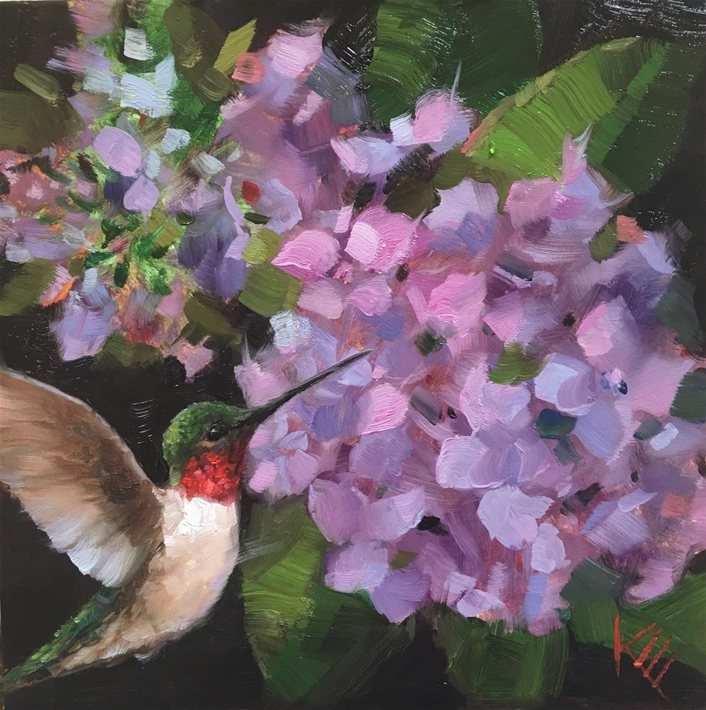 """Hummingbird & Hydragngeas"" original fine art by Krista Eaton"