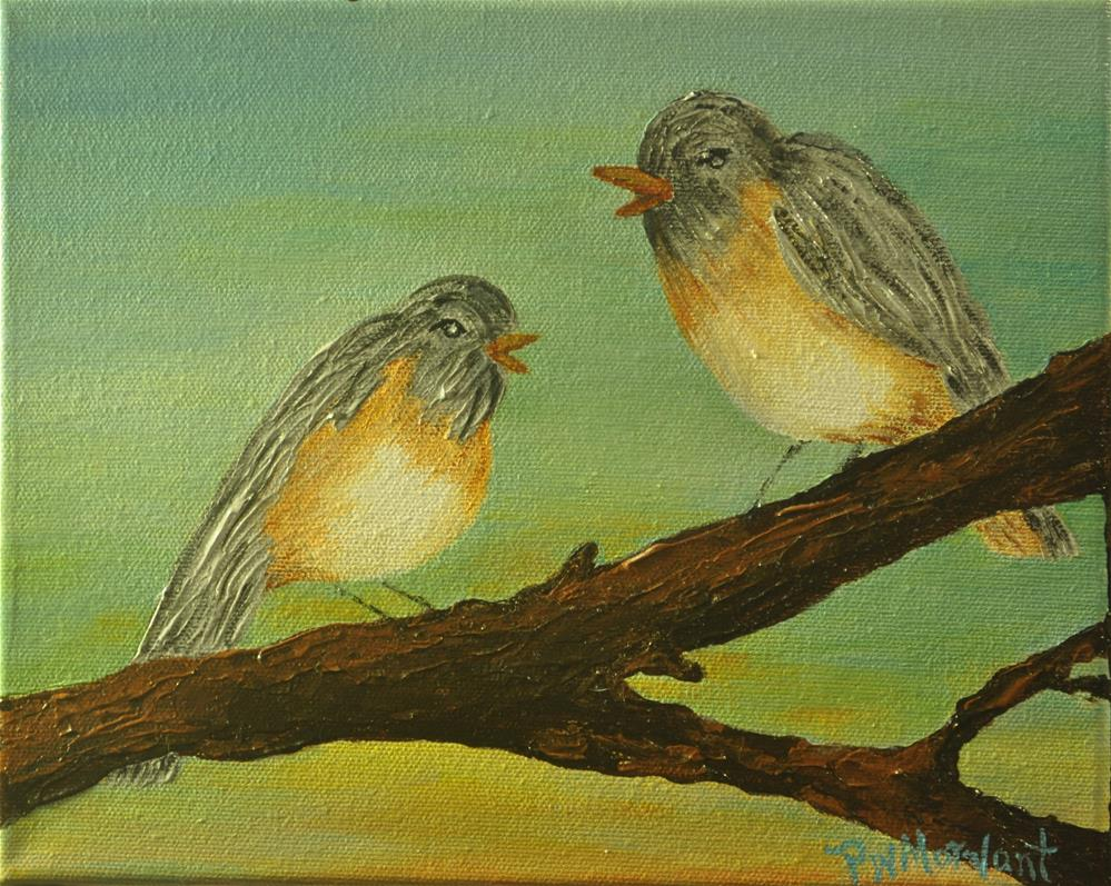 """Bird Talk"" original fine art by Peggy W Morvant"